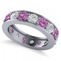 Diamond & Pink Sapphire Eternity Channel Wedding Band 14k White Gold (4.21ct)
