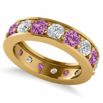 Diamond & Pink Sapphire Eternity Channel Wedding Band 14k Yellow Gold (4.21ct)