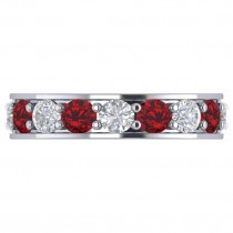 Diamond & Ruby Eternity Channel Wedding Band 14k White Gold (4.21ct)