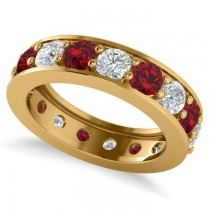Diamond & Ruby Eternity Channel Wedding Band 14k Yellow Gold (4.21ct)