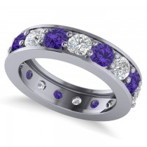 Diamond & Tanzanite Eternity Channel Wedding Band 14k White Gold (4.21ct)