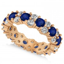 Garland Blue Sapphire & Diamond Eternity Band Ring 14k Rose Gold (3.00ct)