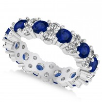 Garland Blue Sapphire & Diamond Eternity Band Ring 14k White Gold (3.00ct)