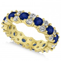 Garland Blue Sapphire & Diamond Eternity Band Ring 14k Yellow Gold (3.00ct)