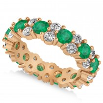 Garland Emerald & Diamond Eternity Band Ring 14k Rose Gold (3.00ct)