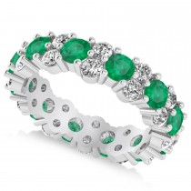 Garland Emerald & Diamond Eternity Band Ring 14k White Gold (3.00ct)