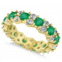 Garland Emerald & Diamond Eternity Band Ring 14k Yellow Gold (3.00ct)