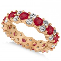 Garland Ruby & Diamond Eternity Band Ring 14k Rose Gold (3.00ct)