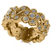 Diamond Floral Anniversary Ring Band 14k Yellow Gold (1.23ct)
