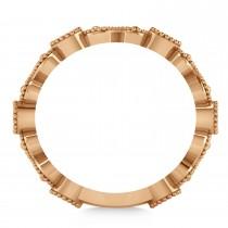 Diamond Swirl Beaded Milgrain Wedding Band Ring 14K Rose Gold (0.30ct)