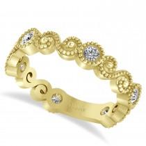 Diamond Swirl Beaded Milgrain Wedding Band Ring 14K Yellow Gold (0.30ct)