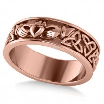Claddagh & Celtic Knot Eternity Wedding Band 14k Rose Gold
