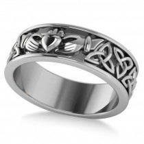 Claddagh & Celtic Knot Eternity Wedding Band 14k White Gold