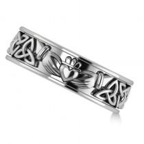 Claddagh & Celtic Knot Eternity Wedding Band 14k White Gold