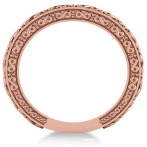 Infinity Design Etched Wedding Band 14k Rose Gold