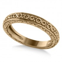 Infinity Design Etched Wedding Band 14k Yellow Gold