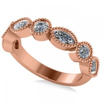 Marquise & Round Diamond Milgrain Edged Band 14k Rose Gold (0.90ct)