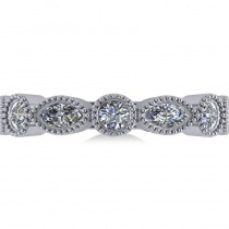 Marquise & Round Diamond Milgrain Edged Band 14k White Gold (0.90ct)