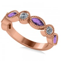 Marquise & Round Diamond & Amethyst Band 14k Rose Gold (0.90ct)