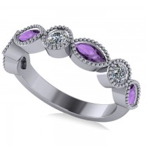 Marquise & Round Diamond & Amethyst Band 14k White Gold (0.90ct)