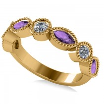 Marquise & Round Diamond & Amethyst Band 14k Yellow Gold (0.90ct)