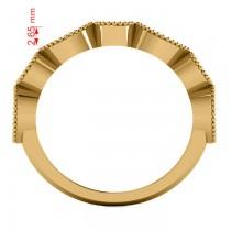 Marquise & Round Diamond & Amethyst Band 14k Yellow Gold (0.90ct)