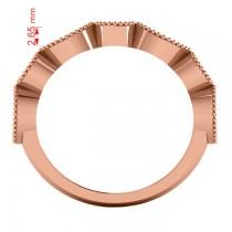 Marquise & Round Diamond & Aquamarine Band 14k Rose Gold (0.90ct)