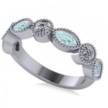 Marquise & Round Diamond & Aquamarine Band 14k White Gold (0.90ct)