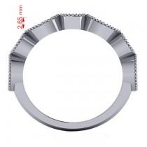 Marquise & Round Diamond & Aquamarine Band 14k White Gold (0.90ct)