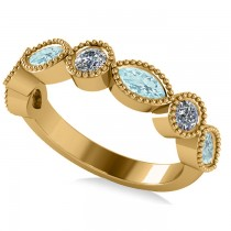 Marquise & Round Diamond & Aquamarine Band 14k Yellow Gold (0.90ct)