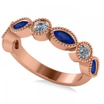 Marquise & Round Diamond & Blue Sapphire Band 14k Rose Gold (0.90ct)