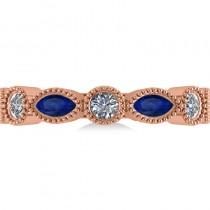 Marquise & Round Diamond & Blue Sapphire Band 14k Rose Gold (0.90ct)