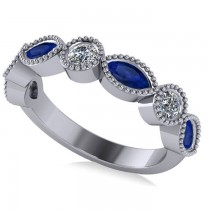 Marquise & Round Diamond & Blue Sapphire Band 14k White Gold (0.90ct)