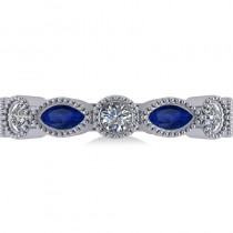 Marquise & Round Diamond & Blue Sapphire Band 14k White Gold (0.90ct)