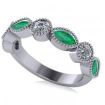Marquise & Round Diamond & Emerald Band 14k White Gold (0.90ct)