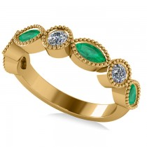 Marquise & Round Diamond & Emerald Band 14k Yellow Gold (0.90ct)