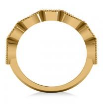 Marquise & Round Diamond & Emerald Band 14k Yellow Gold (0.90ct)