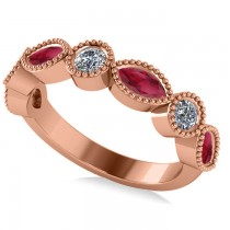 Marquise & Round Diamond & Ruby Band 14k Rose Gold (0.90ct)
