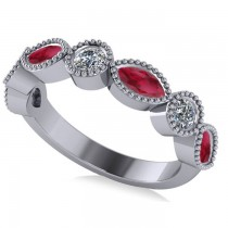 Marquise & Round Diamond & Ruby Band 14k White Gold (0.90ct)