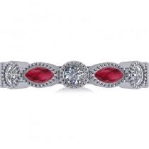 Marquise & Round Diamond & Ruby Band 14k White Gold (0.90ct)