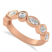 Marquise & Round Diamond Wedding Band 14K Rose Gold (0.90ct)