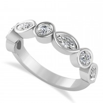 Marquise & Round Diamond Wedding Band 14K White Gold (0.90ct)