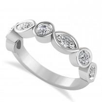Marquise & Round Diamond Wedding Band 14K White Gold (0.90ct)