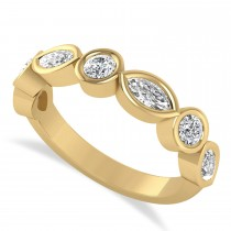 Marquise & Round Diamond Wedding Band 14K Yellow Gold (0.90ct)