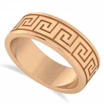Men's Greek Key Eternity Wedding Band 14K Rose Gold