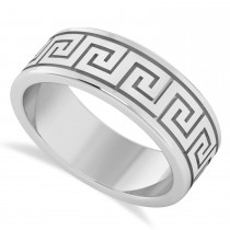 Men's Greek Key Eternity Wedding Band 14K White Gold