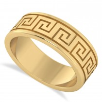 Men's Greek Key Eternity Wedding Band 14K Yellow Gold
