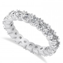 Diamond Eternity Wedding Band Ring 14K White Gold (2.10ct)