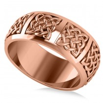 Celtic Wedding Ring Band 14k Rose Gold