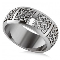 Celtic Wedding Ring Band 14k White Gold